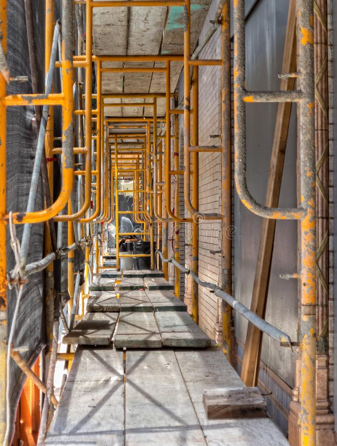 Scaffolding surrounds historic building in downtown Napa. Under the scaffolding, historic drug store remodel in downtown Napa, California stock photos