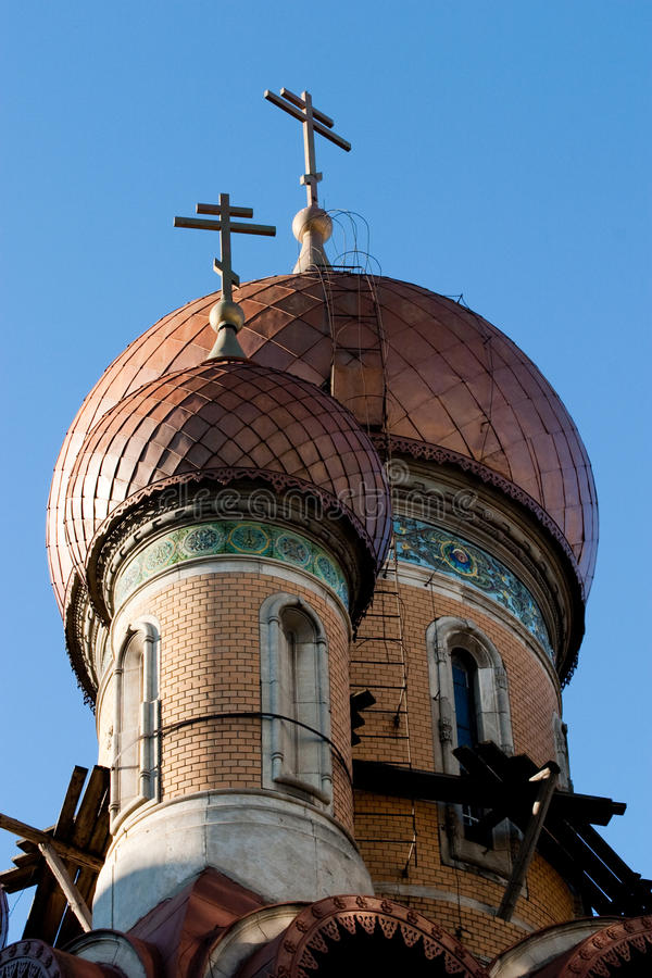 Free Scaffolds On The Russian Church Dome  Royalty Free Stock Photo - 12357285