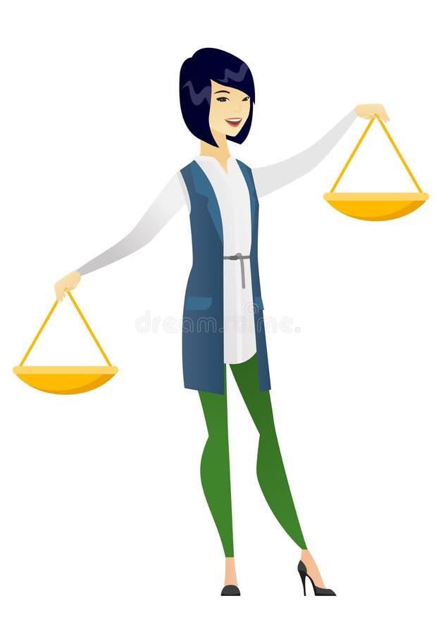 Scala asiatica dell'equilibrio della tenuta della donna di affari illustrazione vettoriale