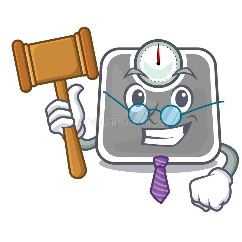 Scala de poids de juge d'isolement avec dans des bandes dessinées illustration de vecteur