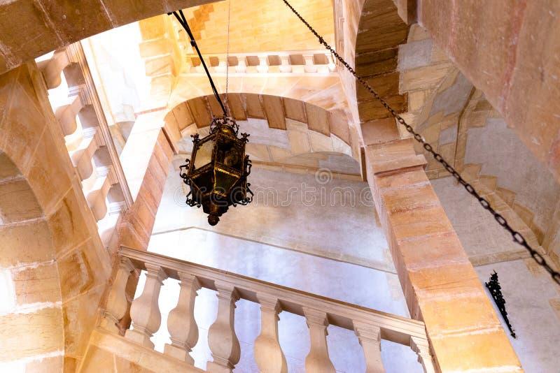 Scala del castello di Cormatin nella regione Francia di Borgogna immagine stock libera da diritti