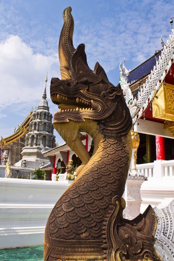 Scala del Naga in Wat Banden, chiangmai Tailandia fotografia stock libera da diritti