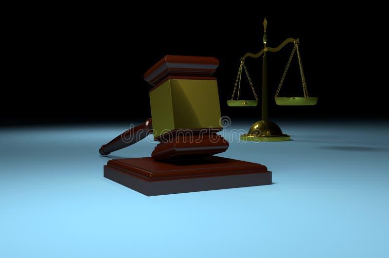 Scala della giustizia e martelletto del giudice royalty illustrazione gratis