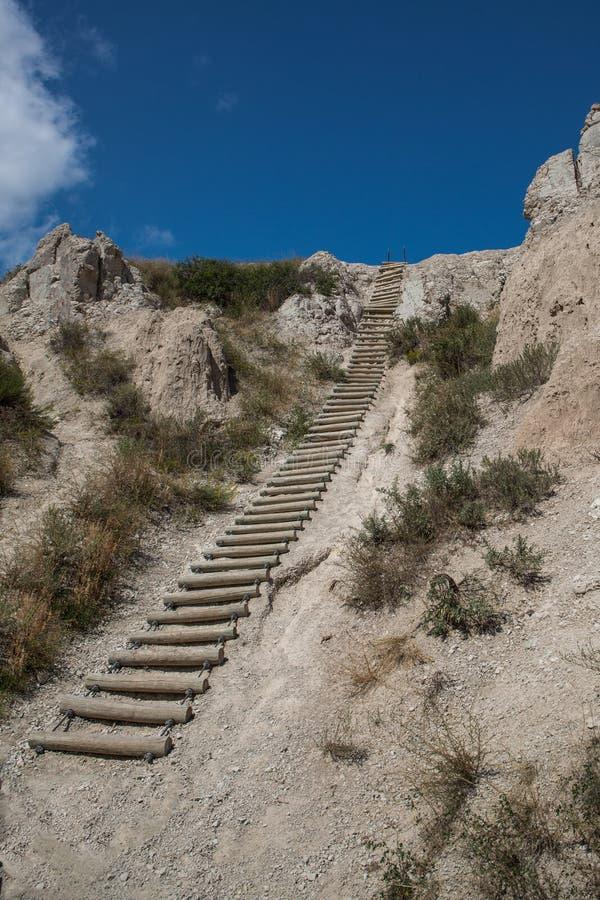 Scala della traccia della tacca nel parco nazionale dei calanchi fotografia stock