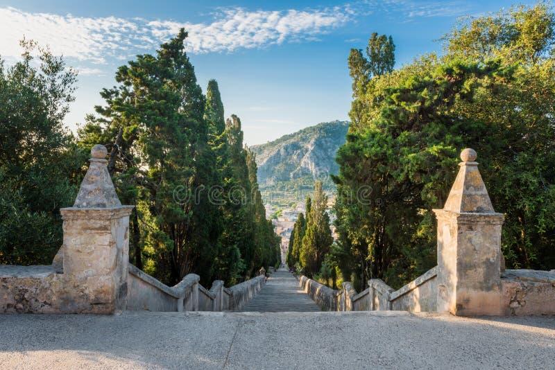 Scala di Calvari in Pollenca Mallorca fotografia stock libera da diritti