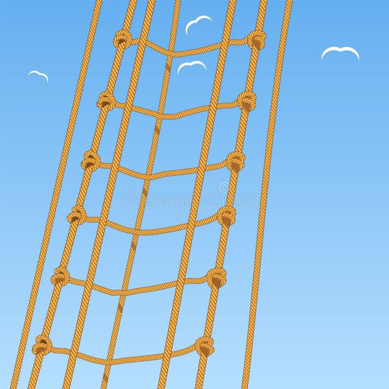 Scala di corda Corda Nodo di scogliera e gabbiani illustrazione vettoriale