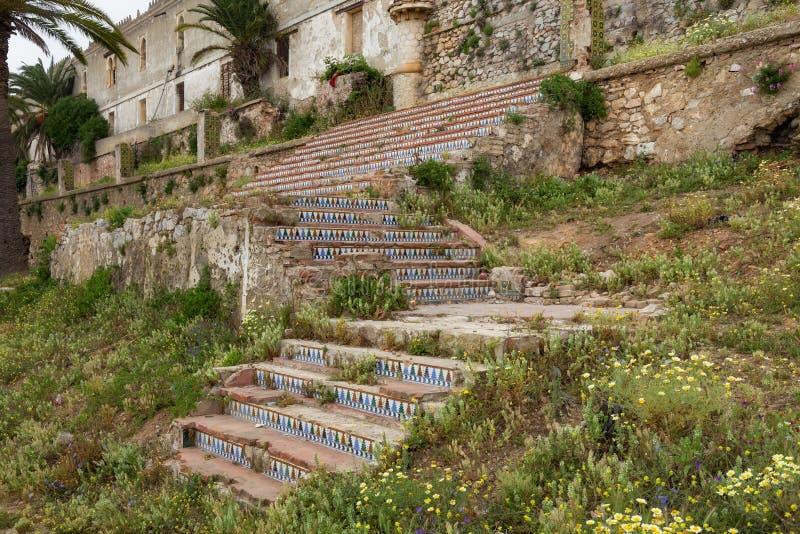 Scala di Kasbah a Tetouan nel nord del Marocco kasbah in Marocco si riferisce spesso a diversi edifici in una tenuta, una cittade immagine stock libera da diritti