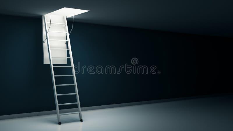 Scala di legno alla soffitta con luce illustrazione di stock