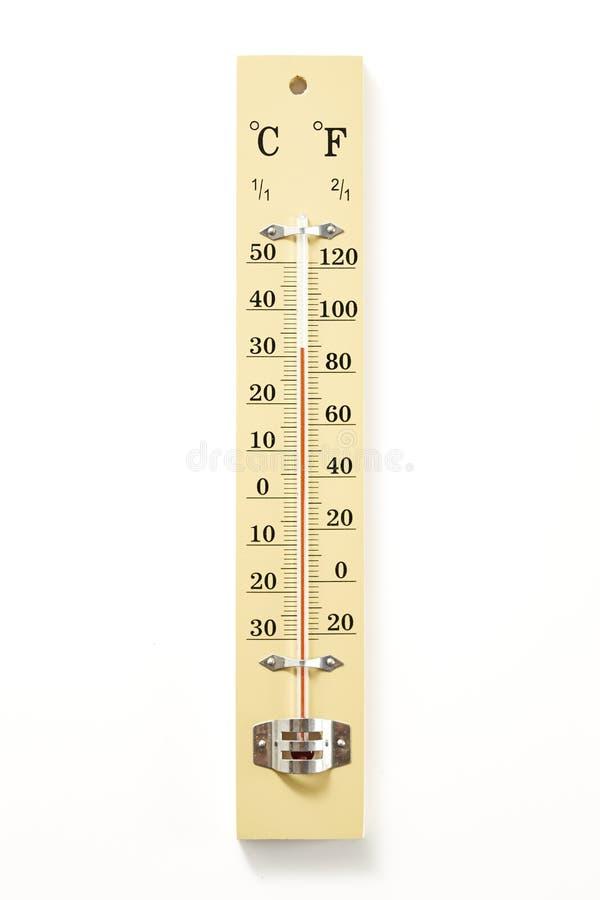 Scala di legno del termometro immagine stock libera da diritti