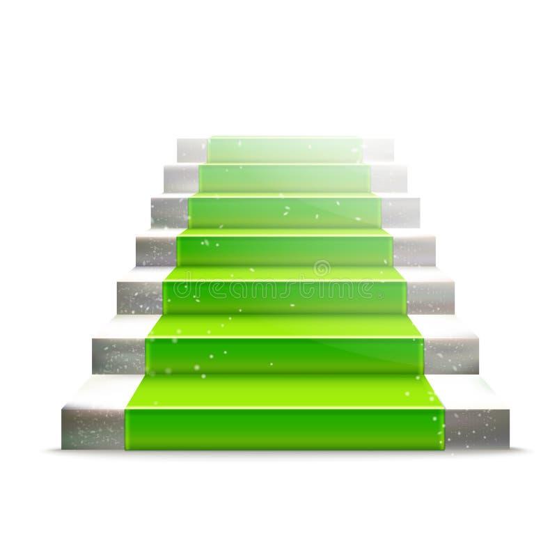 Scala di pietra con tappeto verde illustrazione di stock