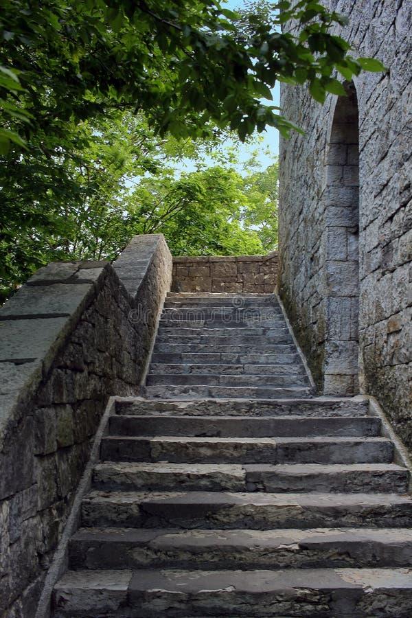 Scala di pietra nell'antico castello verticale fotografia stock
