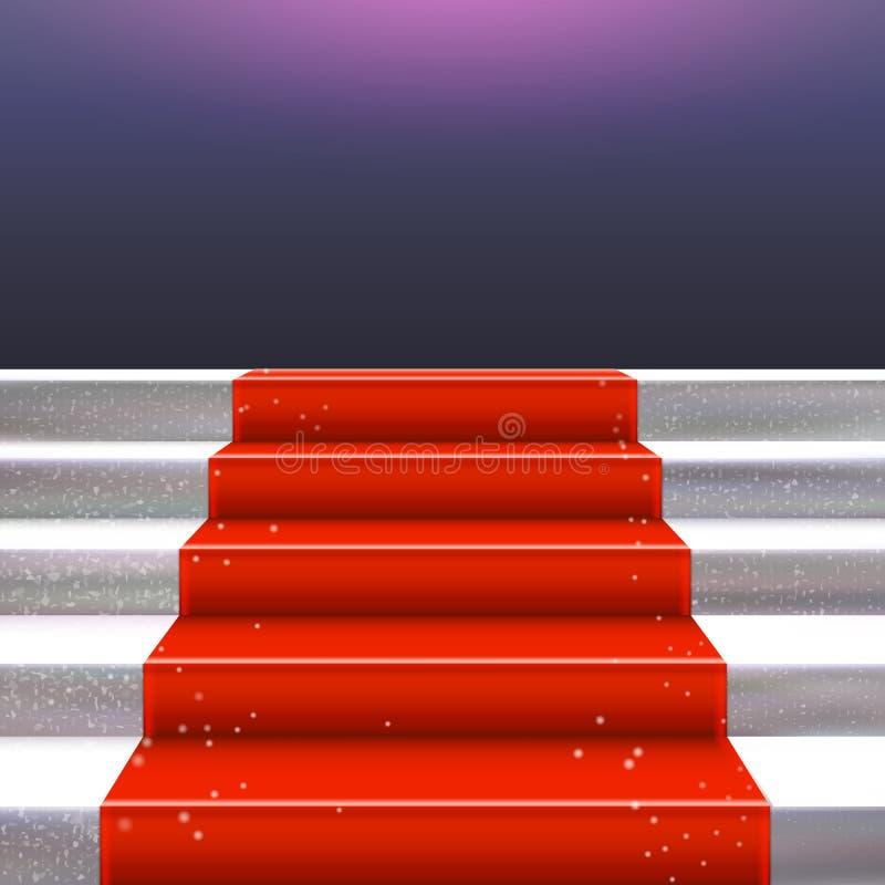 Scala di pietra realistica con la struttura del tappeto rosso illustrazione di stock