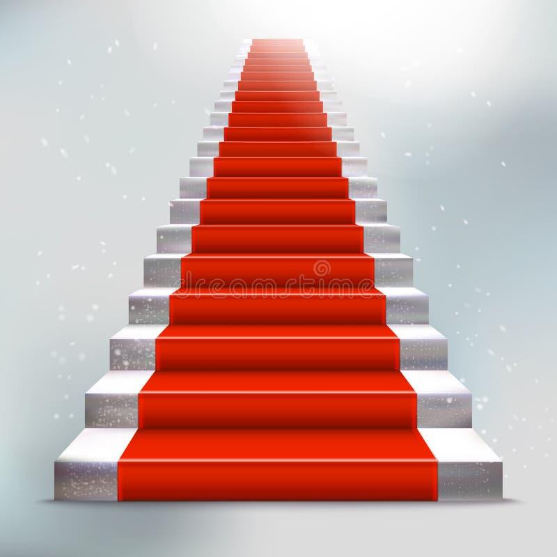 Scala di pietra realistica con tappeto rosso e luce illustrazione di stock