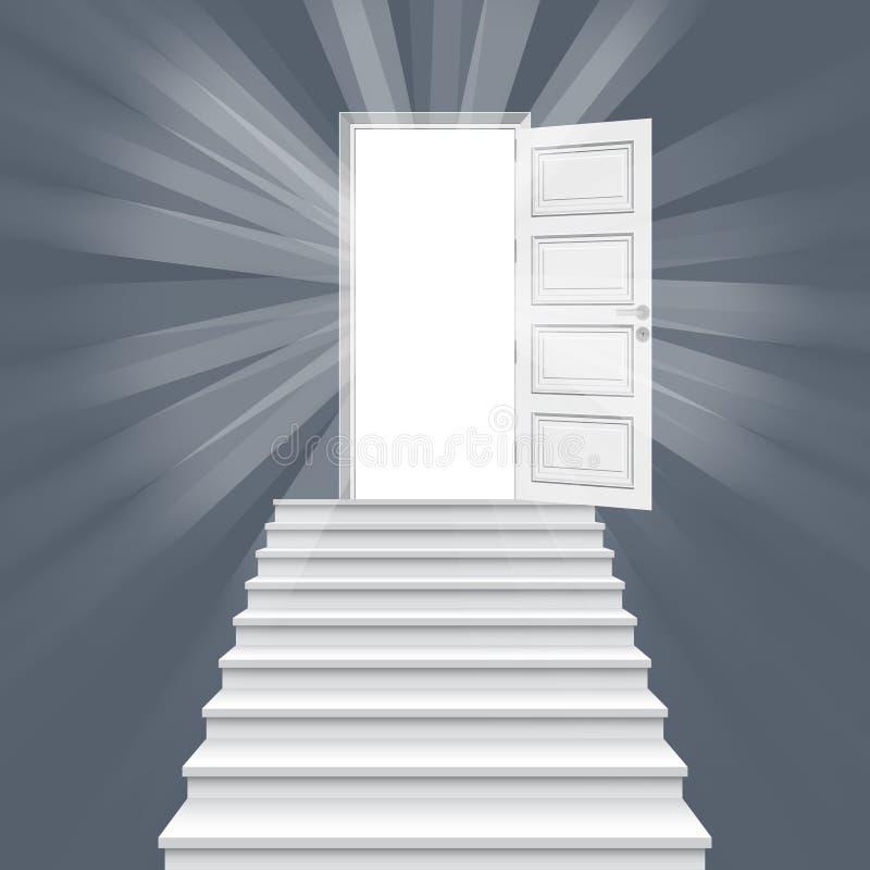 Scala diritte che conducono all'illustrazione di vettore della porta aperta royalty illustrazione gratis