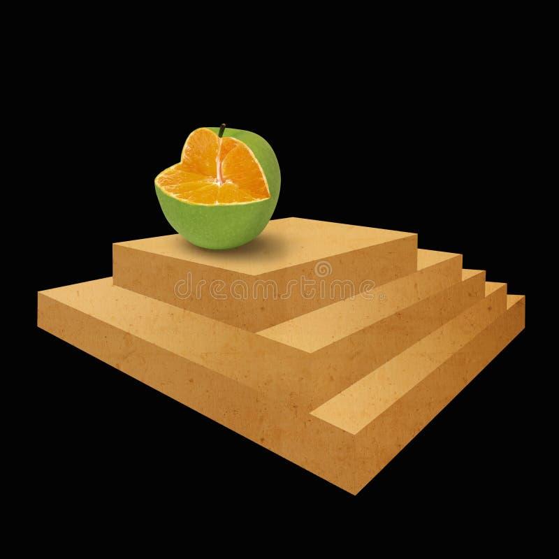 Scala ed arancia impossibili della mela immagine stock libera da diritti