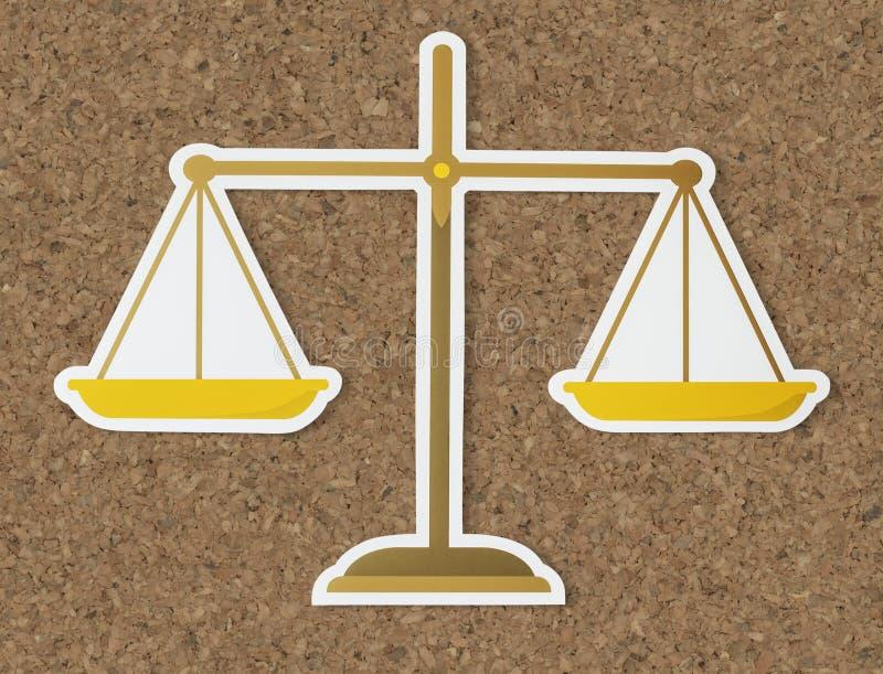 Scala legale dell'icona di carta piana della giustizia royalty illustrazione gratis
