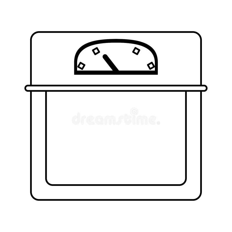 Scala nera del peso corporeo in bianco e nero illustrazione vettoriale