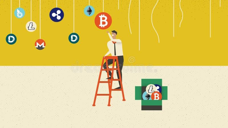 Scala rampicante dell'uomo d'affari per prendere bitcoin illustrazione vettoriale