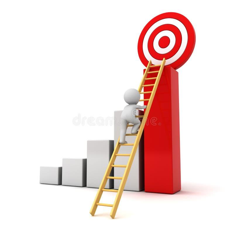 scala rampicante dell'uomo 3D all'obiettivo rosso di scopo sopra il riuscito grafico illustrazione vettoriale