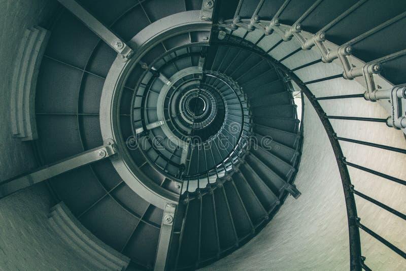 Scala a spirale all'interno del faro fotografia stock libera da diritti