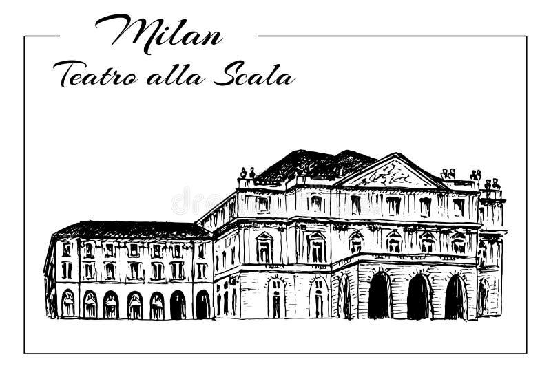 Scala van Teatroalla Milan Opera House, Italië vector illustratie