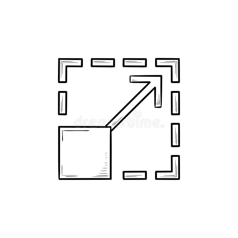 Scalability het hand getrokken pictogram van de overzichtskrabbel royalty-vrije illustratie