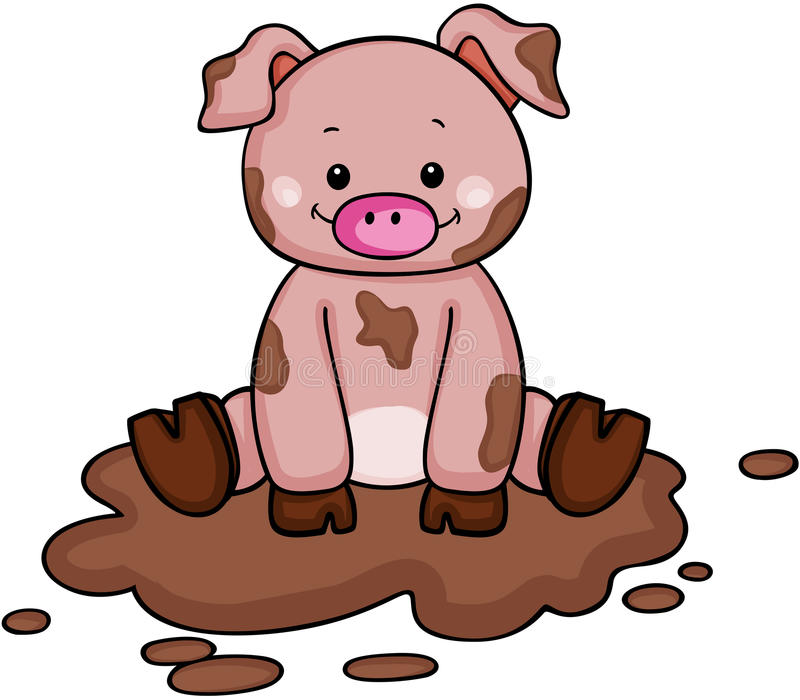Cute little pig in the mud. Scalable vectorial image representing a cute little pig in the mud, isolated on white royalty free illustration