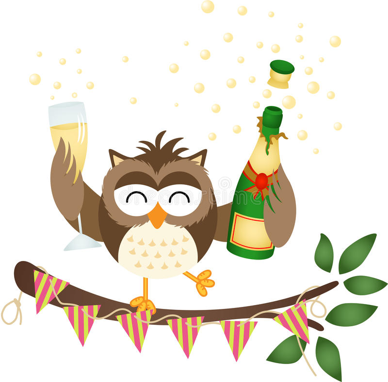 Owl at a party with bottle of a champagne and glass. Scalable vectorial image representing a owl at a party with bottle of a champagne and glass, isolated on stock illustration