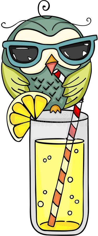 Owl with sunglasses drinking fresh lemonade. Scalable vectorial image representing a owl with sunglasses drinking fresh lemonade, isolated on white royalty free illustration