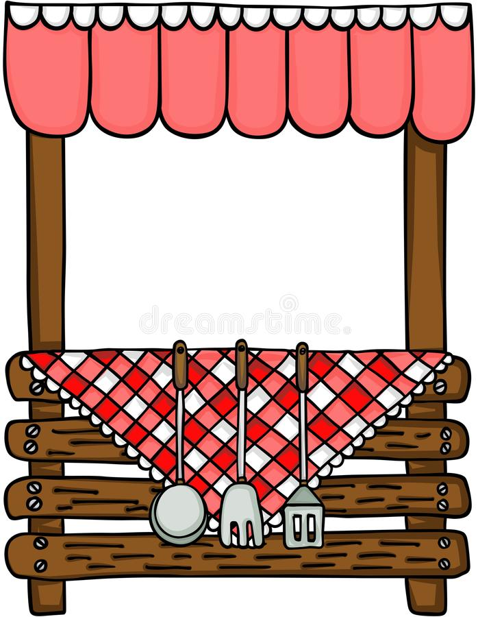 Wooden stand with kitchen cooking utensils vector illustration