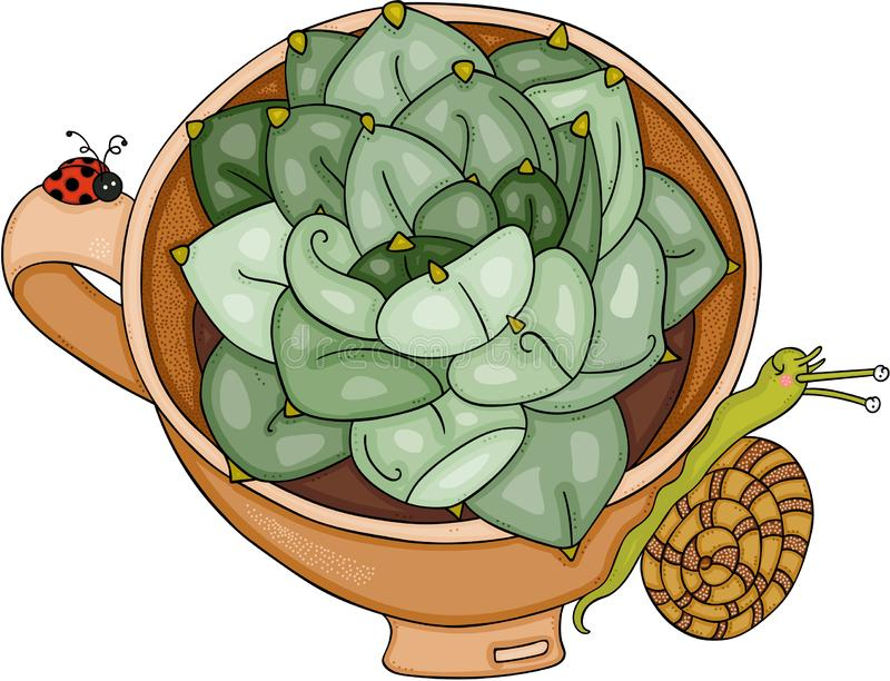 Cactus in tea cup with ladybug and snail stock illustration