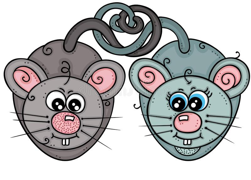 Couple of cute mice in love stock illustration