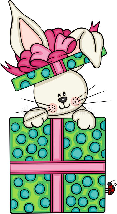 Cute bunny in gift box royalty free illustration