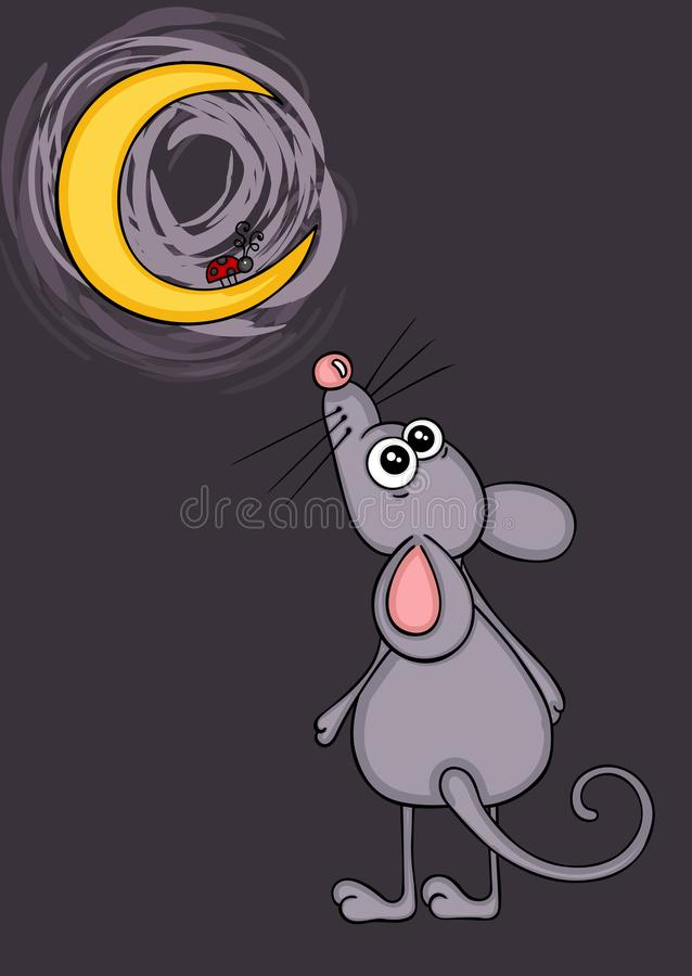 Cute mouse looking ladybug in moon. Scalable vectorial representing a cute mouse looking ladybug in moon, element for design vector illustration