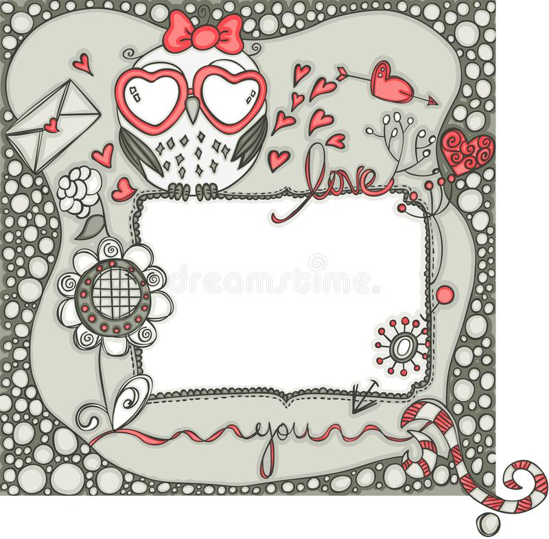 Love layout frame with owl. Scalable vectorial representing a love layout frame with owl, element for design royalty free illustration