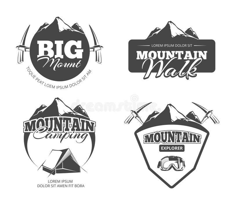 Scalando, il trekking, facente un'escursione, retro vettore di alpinismo simbolizza, etichette, i distintivi, logos messo illustrazione vettoriale