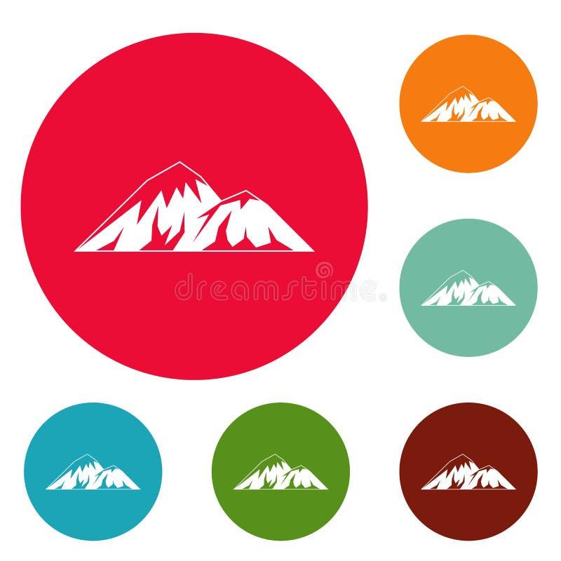 Scalando sull'insieme del cerchio delle icone della montagna illustrazione vettoriale