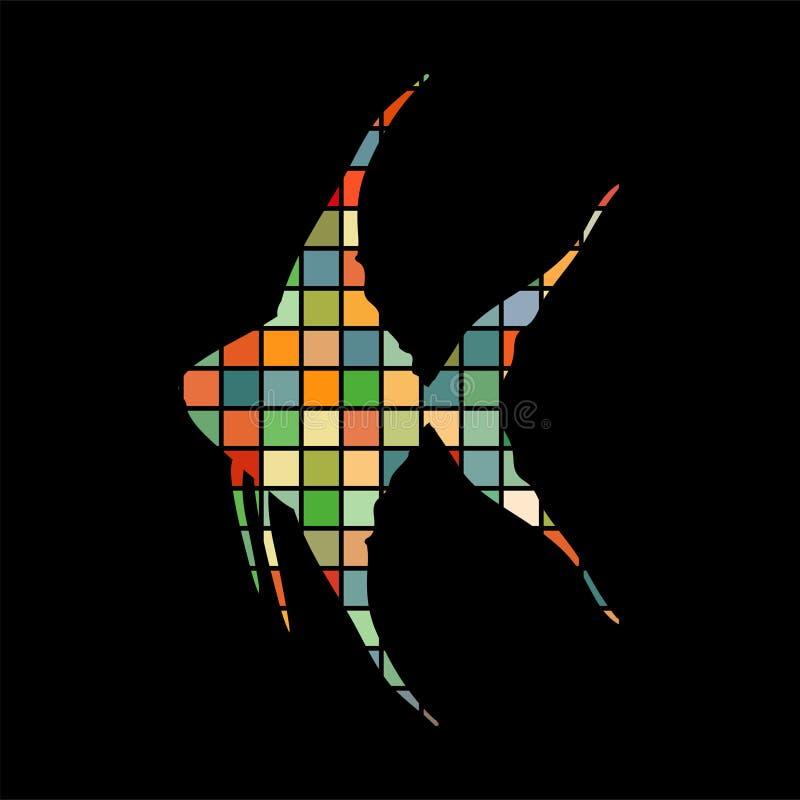 scalare鱼马赛克颜色剪影水生动物背景b图片