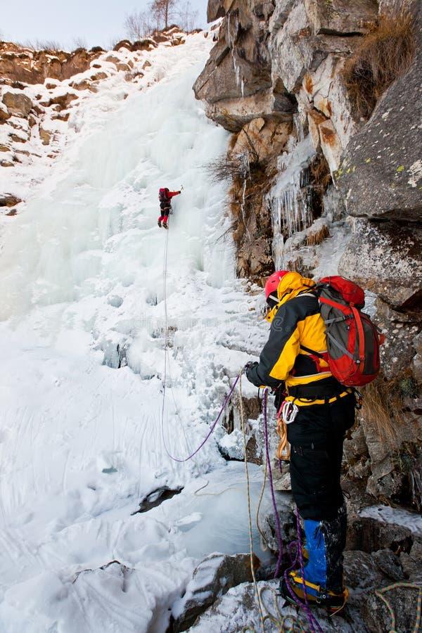 Scalata del ghiaccio fotografia stock libera da diritti