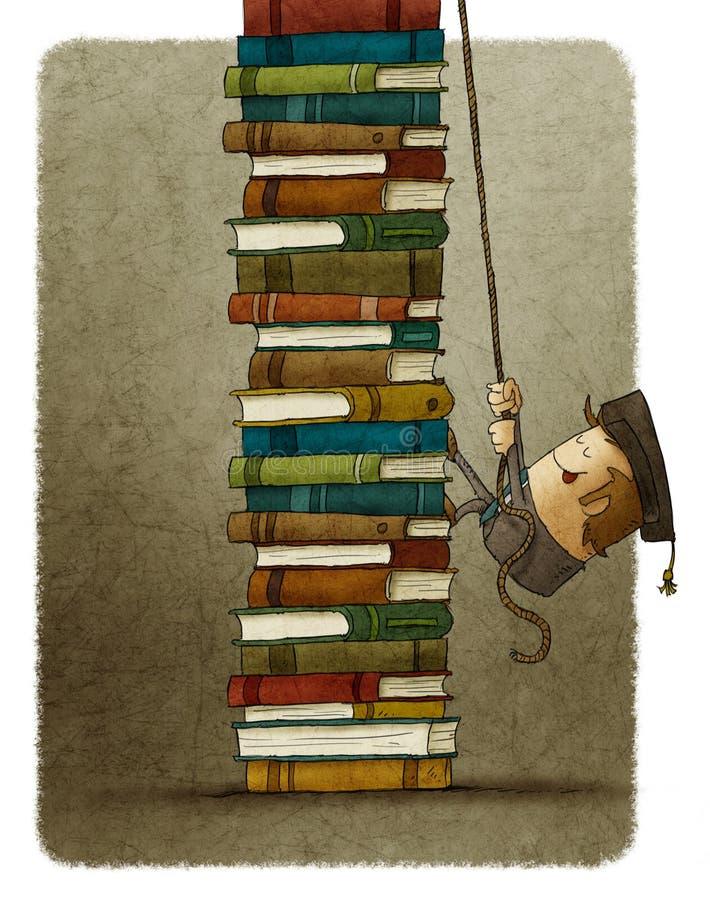 Scalata del mucchio dei libri illustrazione di stock