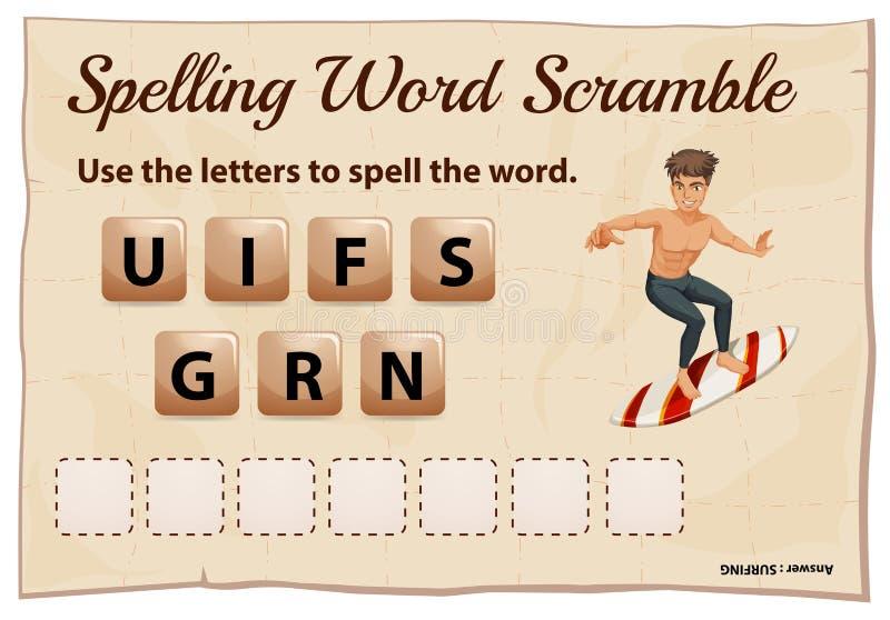 Scalata di parola di ortografia per praticare il surfing di parola royalty illustrazione gratis