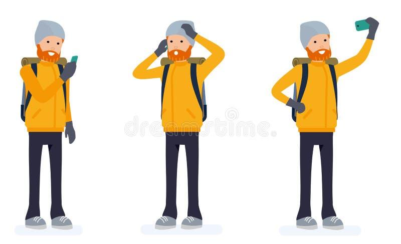 Scalatore con il telefono Escursione dell'uomo turistico con il grande zaino illustrazione nello stile piano del fumetto isolata  illustrazione vettoriale