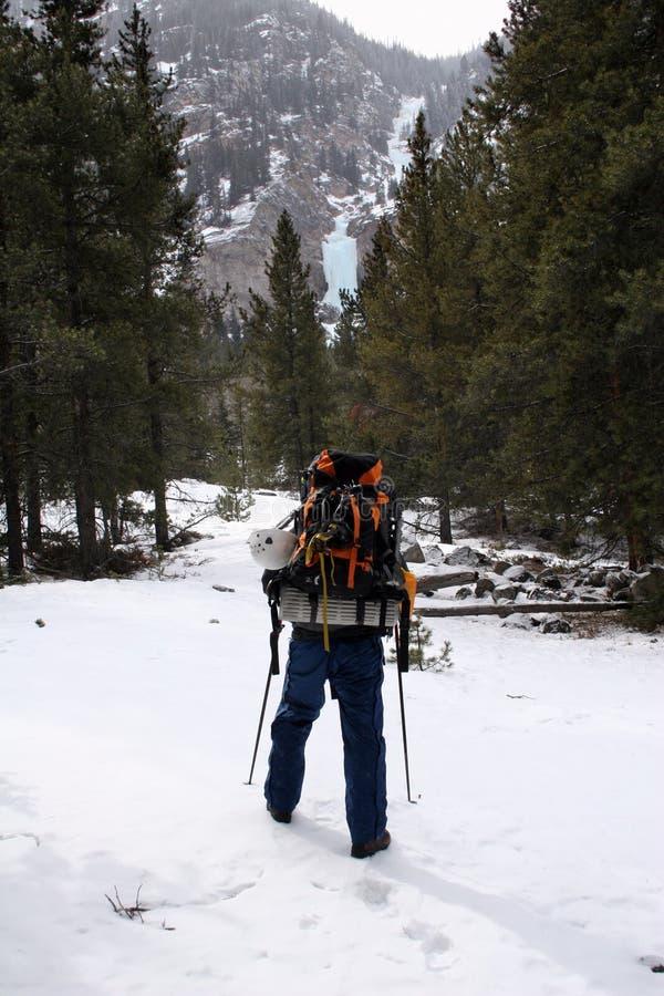 Scalatore del ghiaccio - Montana fotografie stock
