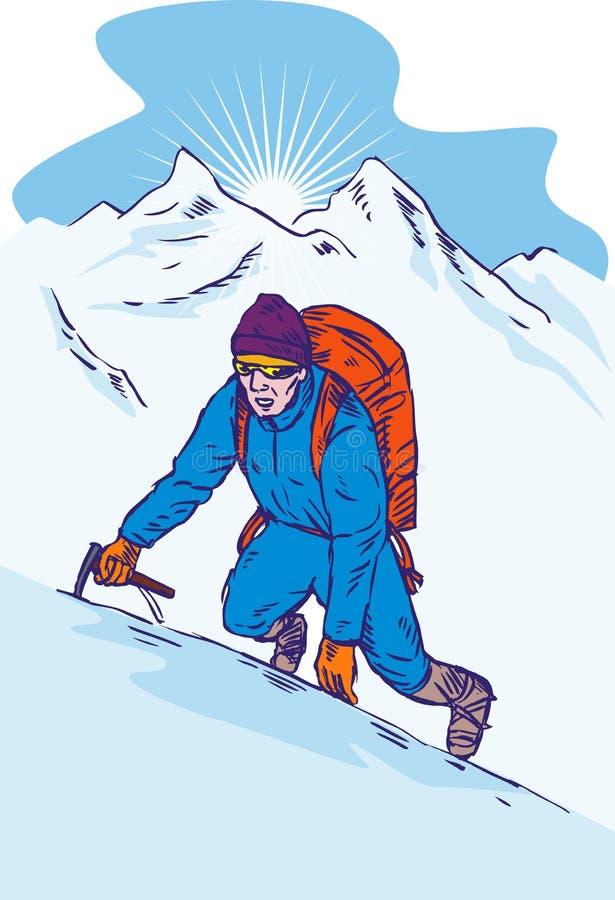 Scalatore di montagna alla sommità fotografia stock