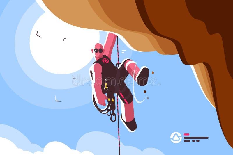 Scalatore di montagna con attrezzatura speciale illustrazione vettoriale