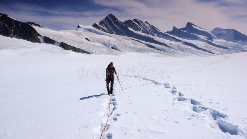 Scalatore di montagna su un grande ghiacciaio nelle alpi con una grande vista dietro lui immagine stock libera da diritti