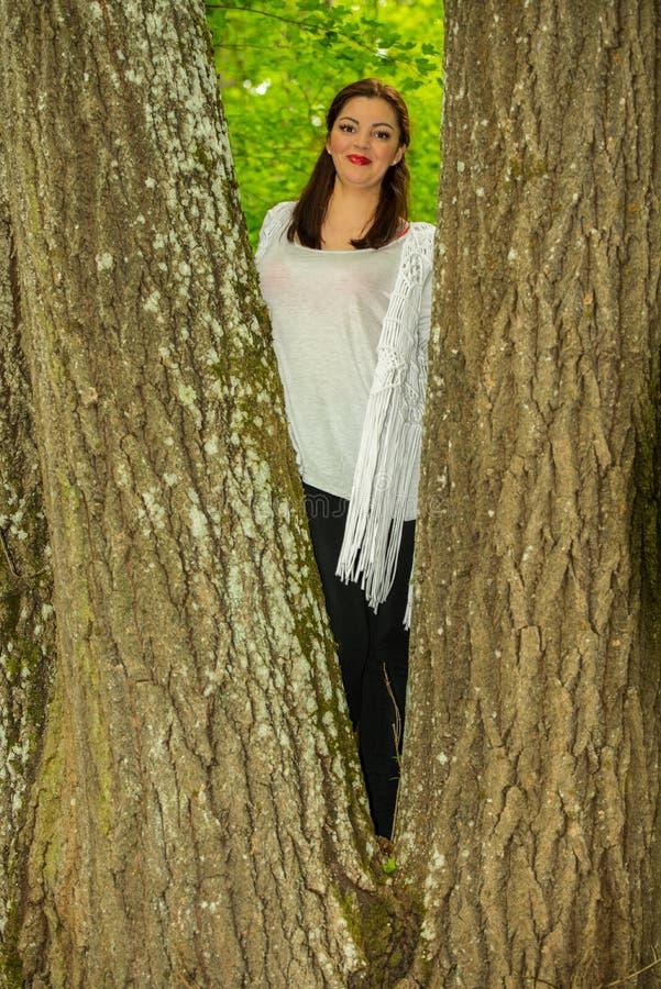 Scalatore sorridente della donna nell'albero fotografie stock libere da diritti