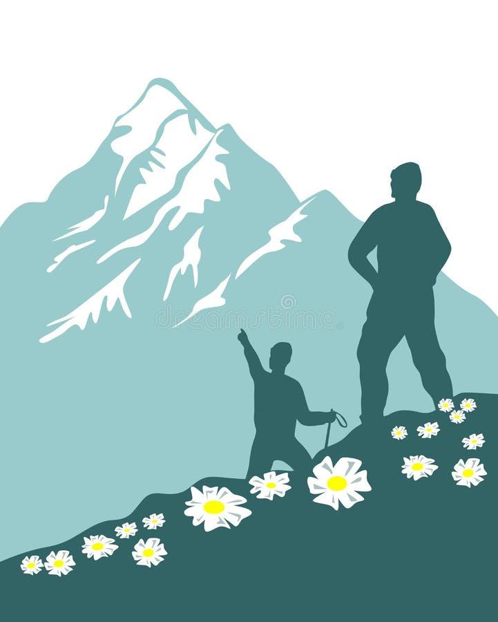 Scalatori della montagna illustrazione di stock