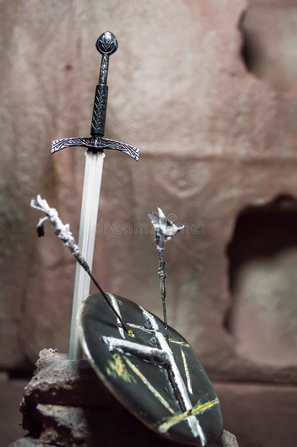 1/6scale剑和盾 免版税库存图片