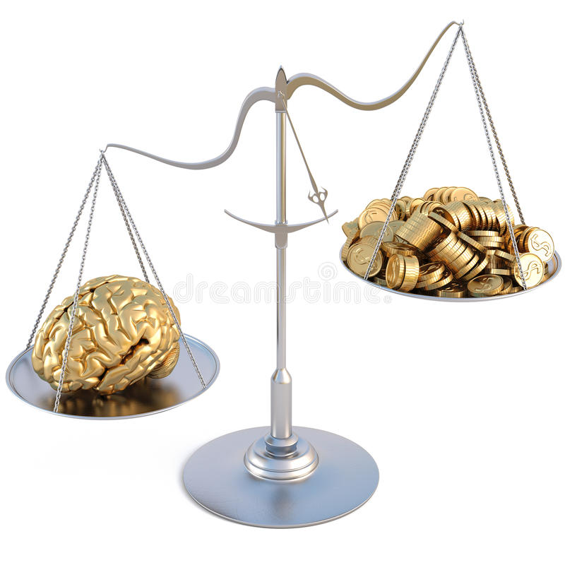 Scale. Golden brains outweigh the pile of gold coins on the scale. isolated on white royalty free illustration